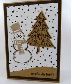 Stempelitis, Weihnachtskarte, Weihnachten, Schneemann, Verschneite Grüße,