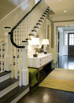 Love the dark wood floors with lighter colored walls and this staircase!