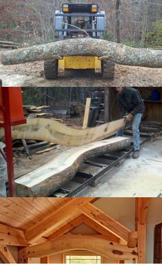 Poplar tree harvested from the home site was cut on our sawmill and made into a focal, structural beam