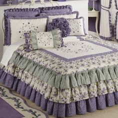 Serenade Grande Ruffled Bedspread Bedding for the GUEST room! Ruffle Bedspread, Ruffle Curtains, Home Bedroom, Girls Bedroom, Bedroom Decor, Daybed Covers, Purple Bedrooms, Beautiful Bedrooms, Bedroom Romantic