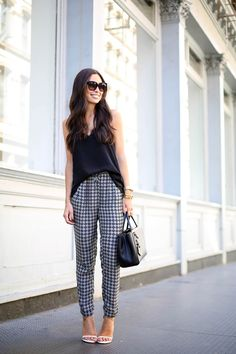 Spring / Summer - street chic style - party style - black silk v-neck spaghetti strap top + black and white print waist loose fit pants + white ankle strap heeled sandals + black sunglasses + black handbag
