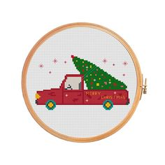 Christmas tree on the car - cross stitch pattern - merry christmas santa decoration green tree red car
