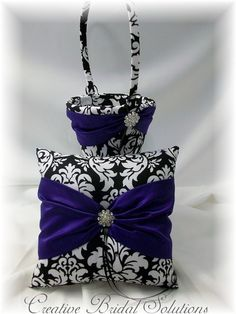Black and White Damask with Purple Wedding by CreativeBridal, $80.00
