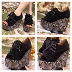 Snake wedges! Comfortable, give you wonderful height plus they are GORG! Pre-order them today txt 787.605.3404
