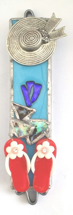 Beach Mezuzah fused & stained glass handmade by by dalitglass, $45.00