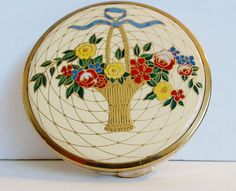 Houbigant Loose Powder Compact Enamel Flower Basket Lid Screen No Puff Mirror