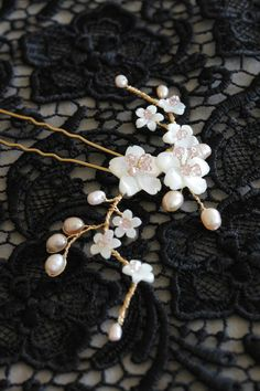 Oriental Obsession | Cherry blossom bridal hair pin for Yuna
