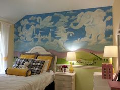 Fantasy clouds children's wall mural