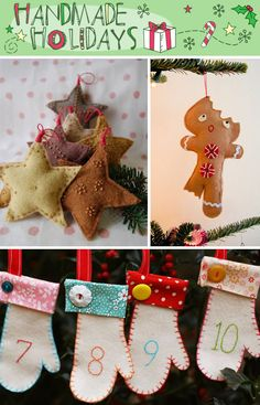 the bitten gingerbread person is a little disturbing but the stars are adorable, and there's three pages of assorted homemade holiday stuff here...whew!!!