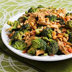 Chicken, Broccoli, and Red Bell Pepper Salad Recipe with Peanut Butter Dressing was the Daily Phase One Recipe from this date in 2013.  [from Kalyn's Kitchen]