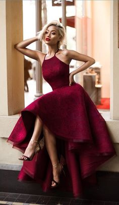 Charming Prom Dress,High Low Prom Dress, Maroon Prom