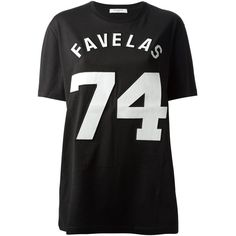 GIVENCHY 'Favelas 74' printed t-shirt ($440) ❤ liked on Polyvore featuring tops, t-shirts, shirts, blusas, tees, cotton tee, black cotton shirt, black tee, cotton short sleeve shirts and short sleeve shirts