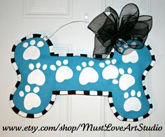 Pet Dog Bone Burlap Door Hanger Decoration by MustLoveArtStudio, $35.00
