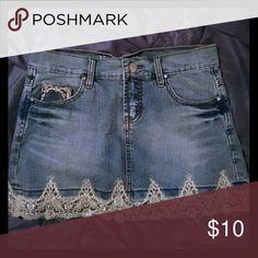 Denim skirt, Size 3 Denim with gold decal Vanilla Jeans Skirts