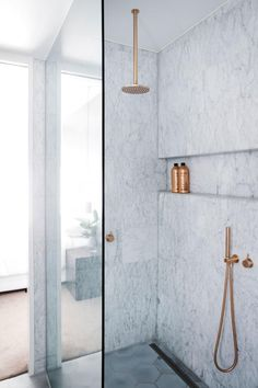 White tile walk in shower