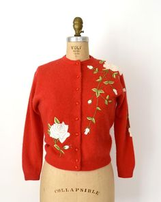 "Sweet Bee Finds on Instagram: ""Sold 🌹 SOLD ~ Thank you! Vintage 1950s/60s sweater, true red, soft wool blend, incredible rose embroidery, fabric covered buttons, lined…"""