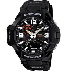 G-Shock GA-1000-1A Aviation Series Men's Luxury Watch - Black / One Size. 200M Water Resistant. Digital Compass with Bearing Memory. UV-LED (Auto) Neon-Illuminator Light. Thermometer. Anti-Magnetic Structure.