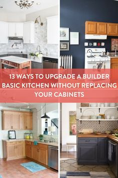 """Are you looking to upgrade the basic builder grade cabinets in your kitchen? Here are 13 upgrades you can do without replacing your cabinets completely. #[""""How-To"""", """"Kitchen"""", """"Painting"""", """"cabinets"""", """"Kitchen"""", """"storage"""", """"DIY"""", """"hack"""", """"upgrade"""", """"organization""""]"""