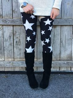 """""""Stars At Midnight"""" is the pattern for these leggings.  Visit my web site to see more products of Agnes & Dora."""
