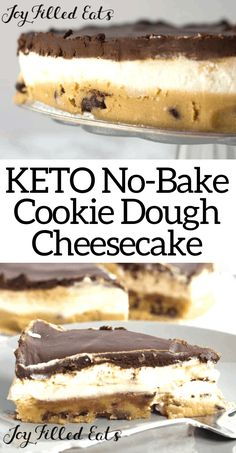 No-Bake Cookie Dough Cheesecake - Low Carb, Keto, THM S - With a layer of raw chocolate chip cookie dough, a layer of creamy cheesecake, and a layer of rich - No Bake Cookie Dough, Cookie Dough Cheesecake, Keto Cheesecake, Chocolate Chip Cookie Dough, Low Carb Sweets, Low Carb Desserts, Low Carb Recipes, Dessert Recipes, Diet Recipes