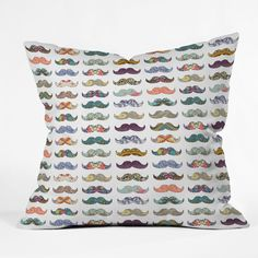 Bianca Green Mustache Mania Throw Pillow | DENY Designs Home Accessories