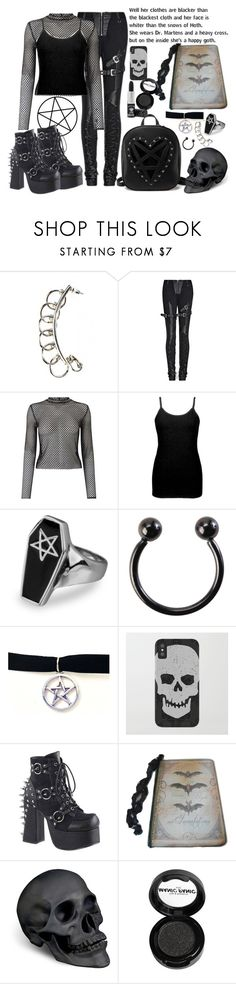 """""""happy goth"""" by alyson7123 ❤ liked on Polyvore featuring Miss Selfridge, BKE core, Hot Topic, Demonia, L'Objet and Manic Panic NYC"""