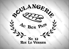 A5 Stencil Shabby Chic,  BOULANGERIE  French, Vintage, Mylar Stencil (107) Stencils, Shabby Chic, Letters, Words, Ebay, French Vintage, Numbers, Bakery Business, Letter