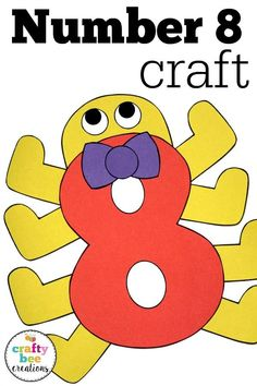 Number crafts are great for preschool and kindergarten children working on number recognition. These patterns are kid friendly and very easy to use! # Easy Crafts kindergarten Number Craft {Eight} First Grade Art, First Grade Phonics, First Grade Activities, Spelling Activities, Listening Activities, Listening Skills, Preschool Number Crafts, Preschool Kindergarten, Preschool Learning