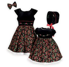 Captivating Rosebuds Holiday Sister Dresses Bright red rosebuds and vibrant green against a black background create these stunning dresses. Summer Holiday Outfits, Girls Christmas Dresses, Summer Outfits For Teens, Holiday Dresses, Dresses For Tweens, Girls Dresses, Girls Special Occasion Dresses, Girl Dress Patterns, Stunning Dresses
