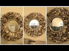 (3071) Dollar Tree DIY -  Gold Rose Petal Wall Mirror  - YouTube