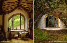 This is probably one of the best examples of a home's connection to the earth you will ever find. It's a window from Simon Dale's Woodland Home [www.naturalhomes.org/simondale.htm] seen on so many websites as an example of a 'hobbit' house. He now lives with his family in Lammas [www.lammas.org.uk] ecoVillage in Wales. You can see Simon's Woodland House at [www.beingsomewhere.net].