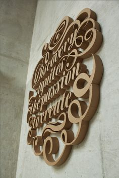 """Discovery Ignites The Passion To Create"": 3D Type in Corrugated Cardboard 