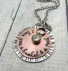 I Love You A Bushel & A Peck Necklace  Hand by FiredUpLadiesHammer, $29.00