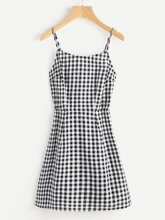 Lace Up Back Princess Seam Gingham Cami DressFor Women-romwe