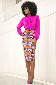 Style Pantry | Front Tie Blouse + Printed Midi Skirt