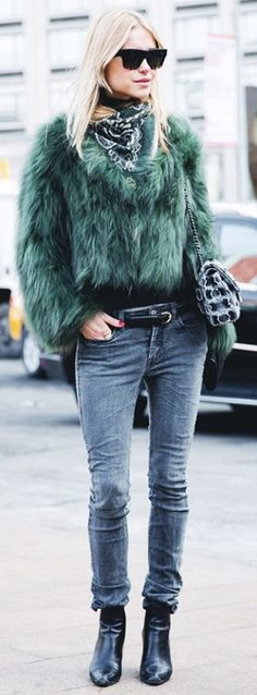 One word: obsessed // wearing a furry green jacket and skinny jeans