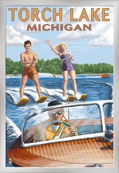 Torch Lake, Michigan - Water Skiing & Wooden Boat - Lantern Press Artwork (24x36 Giclee Art Print, Gallery Framed, Silver Wood), Multi