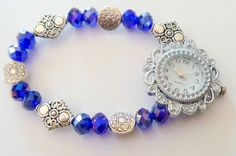 Girls or Ladies Handcrafted Stretchable Royal Blue Crystal Beaded Watch #Handmade