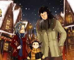 Fairy Tail and Harry Potter crossover-Gajevy family Fairy Tail Levy, Fairy Tail Ships, Fairy Tail Anime, Fairytail, Nalu, Gajeel Und Levy, Harry Potter Crossover, Fairy Tail Images, Gajevy