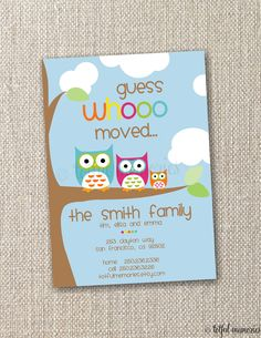diy printable announcement guess whoooo moved announcement customizable totful memories 1500 - Unique House Gifts