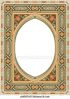 Clip Art of Green, Orange, and yellow rectangle Arabesque frame with open Oval center u24503127 - Search Clipart, Illustration Posters, Drawings, and EPS Vector Graphics Images - u24503127.eps