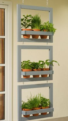 A small space or blank wall is all you need to create beautiful vertical gardens with these DIY gardening ideas! herb garden diy wall vertical planter The Best Vertical Gardens to DIY Now Plantador Vertical, Vertical Planter, Vertical Gardens, Diy Vertical Garden, Small Space Herb Garden Ideas, Small Gardens, Herbs Indoors, Plantation, Amazing Gardens