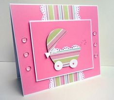 For a Girl's Baby Shower or New Baby, this tutorial shows you how to make this charming card.