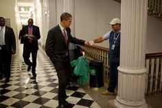 obama greets janitor with fist bump | Flickr - Photo Sharing!