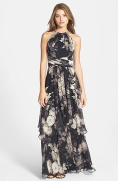 Eliza J Floral Print Halter Neck Chiffon Gown Dress For The Wedding Guest