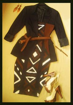 ♥African Mudcloth Dress + Wooden Heels