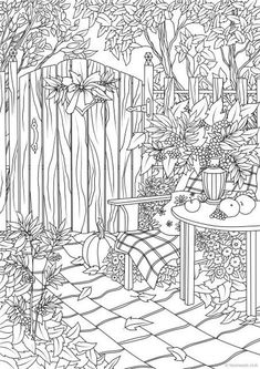 Gardening Autumn - Autumn Garden - With the arrival of rains and falling temperatures autumn is a perfect opportunity to make new plantations Garden Coloring Pages, Spring Coloring Pages, Coloring Pages To Print, Coloring For Kids, Colouring Pages, Free Coloring, Coloring Sheets, Detailed Coloring Pages, Mandala Coloring