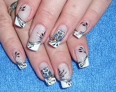 32 Simple And Cute Nail Art Designs - World inside pictures Owl Nail Art, Owl Nails, Animal Nail Art, Minion Nails, Funky Nails, Cute Nails, Pretty Nails, French Nails, Owl Nail Designs
