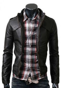 strap slims black leather jacket
