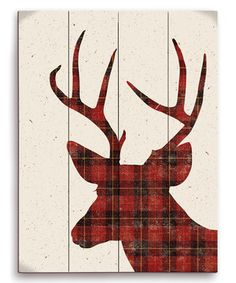 Red Deer Plaid Silhouette Wall Art by Image Canvas #zulily #zulilyfinds